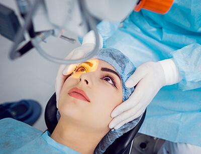 Person having an eye procedure done